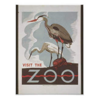 Vintager Besuch der Zoo Photo Drucke