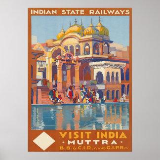 Vintager Besuch Indien Muttra durch Reise Roger Poster