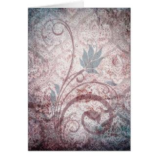 Vintager beunruhigter Blumendamast Karte