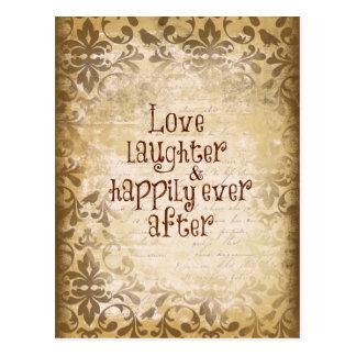 Vintager beunruhigter Damast mit Liebe-Zitat Postkarte