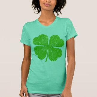 Vintager beunruhigter glücklicher 4 Blatt-Klee T-Shirt