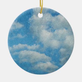 Vintager beunruhigter Wolken-Hintergrund Rundes Keramik Ornament
