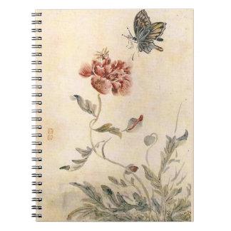 Vintager Biene, Schmetterlingund Spiral Notizblock