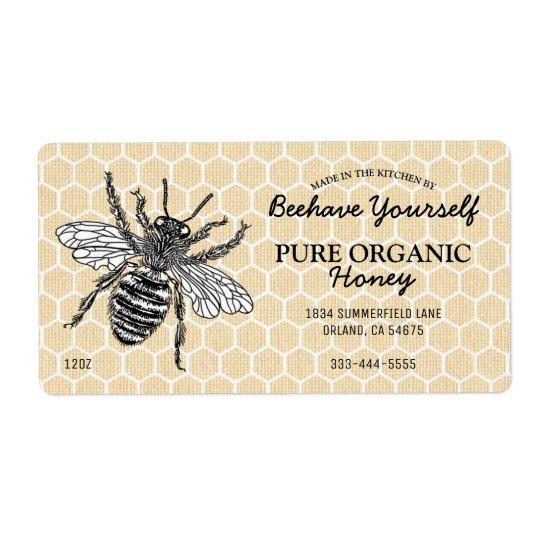 Vintager Bienenwaben-Honigbienen-Honig Versandetiketten