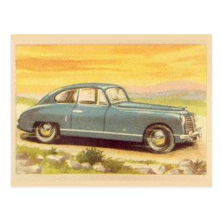 Vintager blauer Auto-Druck Postkarte