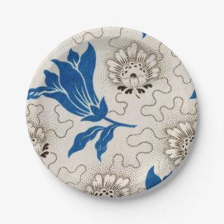 Vintager blauer BlumenpapierTeller des muster-| Pappteller