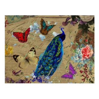 Vintager blauer bunter Pfau-niedlicher Postkarte
