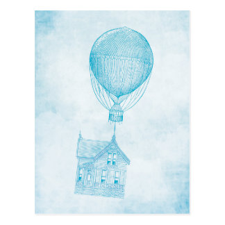 Vintager blauer Heißluft-Ballon-bewegliche Hütte Postkarte