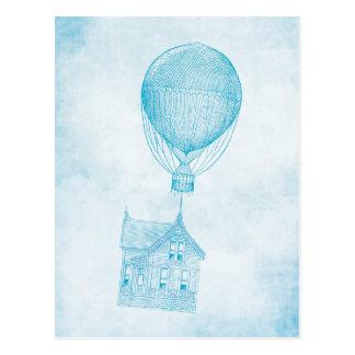 Vintager blauer Heißluft-Ballon-bewegliche Hütte Postkarten