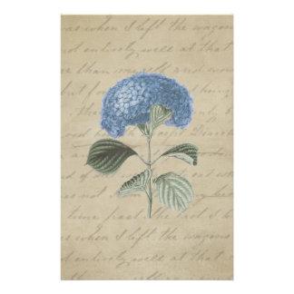 Vintager blauer Hydrangea mit antiker Kalligraphie Briefpapier