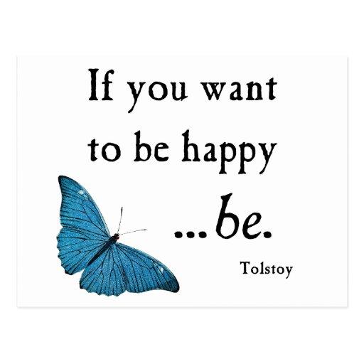 Vintager blauer Schmetterling und Tolstoy Glück-Zi Postkarte