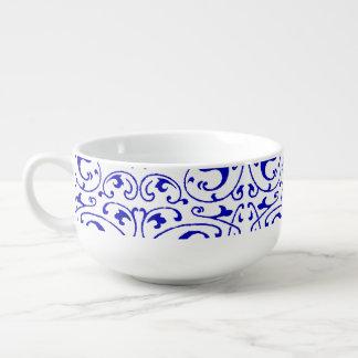 Vintager blauer und weißer Strudel Große Suppentasse