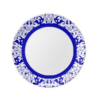 Vintager blauer und weißer Strudel Porzellanteller