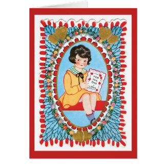 Vintager blauer Valentine Wirh kleines Mädchen Karte