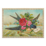 Vintager blauer Vogel Poster