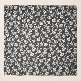 Vintager Blumen-B&W Chifon Schal