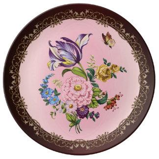 Vintager Blumen-Blumenstrauß-dekorative Teller