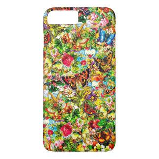 Vintager Blumen-Garten-bunter Schmetterling mit iPhone 8 Plus/7 Plus Hülle