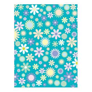 Vintager Blumen-Muster-Entwurf Postkarte