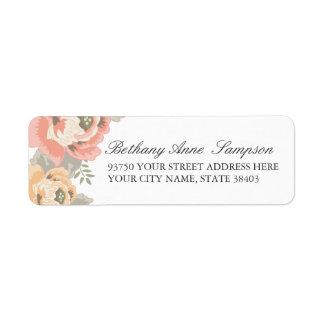 Vintager BlumenRücksendeadressen-Aufkleber Kleiner Adressaufkleber