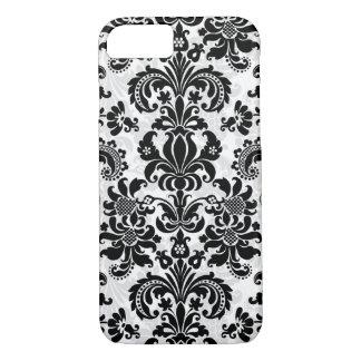Vintager Blumenschwarzweiss-damast iPhone 8/7 Hülle
