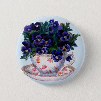 Vintager Blumenteacup-Retro Tee und Blumen-Knopf Runder Button 5,7 Cm