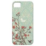 Vintager BlumenWirbelsdamast + Vogel iphone 5 Fall iPhone 5 Schutzhülle