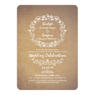 Vintager Blumenwreath-elegante 12,7 X 17,8 Cm Einladungskarte