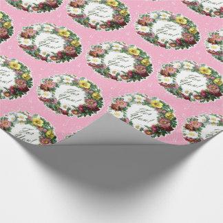 Vintager BlumenWreath mit rosa Hintergrund Geschenkpapier