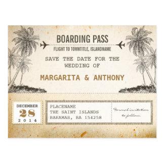 Vintager Boardingdurchlauf der Strandpalmen Save Postkarte