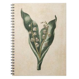 Vintager botanischer BlumenLilly des Tales Spiral Notizblock