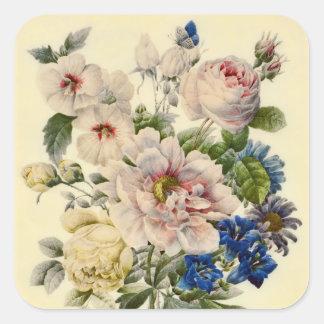Vintager botanischer Blumenstrauß der MischBlumen Quadratsticker