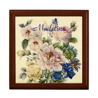 Vintager botanischer Blumenstrauß der MischBlumen Erinnerungskisten