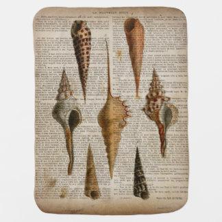 Vintager botanischer Seashell Druck des Kinderwagendecke