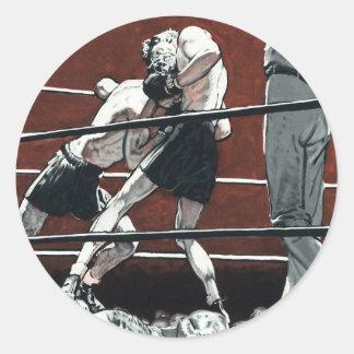 Vintager boxender Sport, Boxer-Kampf im Ring Runder Aufkleber
