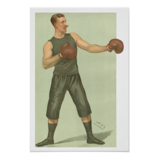 Vintager Boxer mit langes Grün-Stämmen Poster
