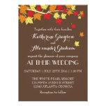 Vintager Brown-Ahorn verlässt Hochzeit im Ankündigungskarte
