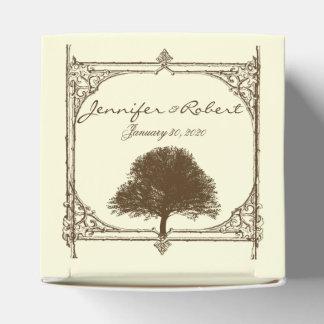 Vintager Brown-Eichen-Baum auf Sahnehochzeit Geschenkschachtel