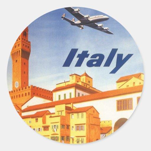 Vintager Brücken-Fluss Reise-Florenz Firenze Itali Aufkleber