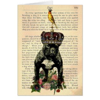 Vintager Buch-Seiten-französische Bulldoggen-König Karte