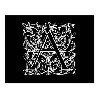 Vintager Buchstabe ein Monogramm-Schwarz-weißes Postkarte