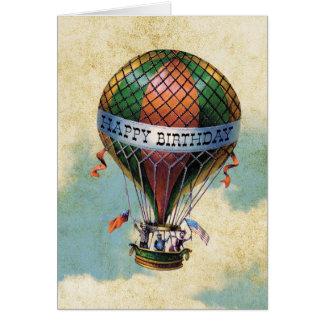 Vintager bunter Heißluft-Ballon-alles Gute zum Karte