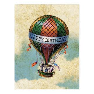 Vintager bunter Heißluft-Ballon-alles Gute zum Postkarten