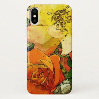 Vintager bunter mit Blumenhintergrund 2 der Kunst iPhone X Hülle
