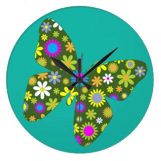 Vintager bunter Schmetterling Große Wanduhr