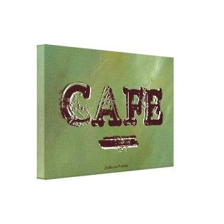 Vintager Café-Küchen-Leinwand-Druck - gebürstetes Leinwanddruck