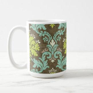 Vintager Celadon-und Aqua-Damast Kaffeetasse