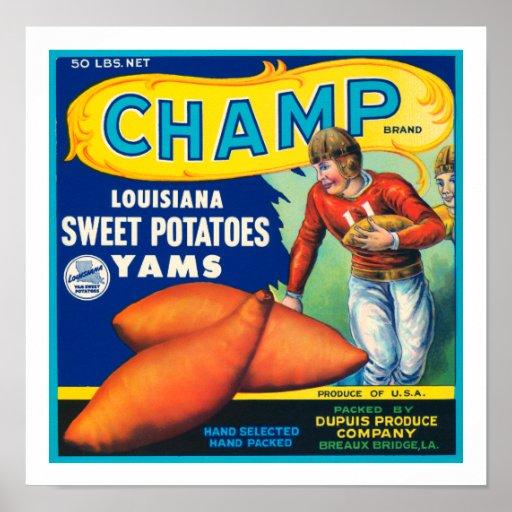 Vintager Champions-süße Kartoffeln Posterdrucke