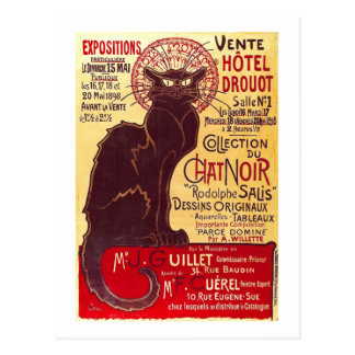 Vintager Chat Noir, Vente Hôtel Drouot Steinlen Postkarte