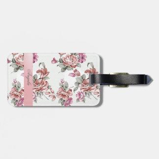 Vintager Chic Girly Blume-Personalisiertes Kofferanhänger